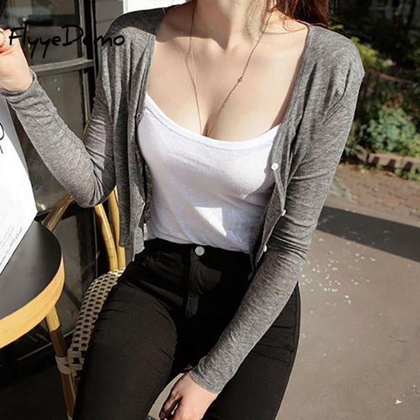 2019 Sexy Short Design Thin Cardigan Women's Cutout Sunscreen Air Conditioning Long Sleeve Shirt Sweater Knitted Outerwear