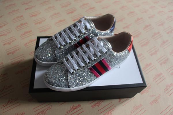 Moda lüks tasarımcı kadın ayakkabı Düşük üst sneaker ace glitter köpüklü kumaş sneaker erkekler kadınlar için boyutu 34-46