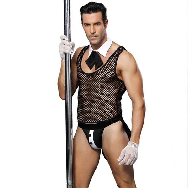 New Porn Men Lingerie Sexy Hot Erotic Male Servant Cosplay Sexy Black Underwear Role Play Erotic Lingerie Porno Costumes