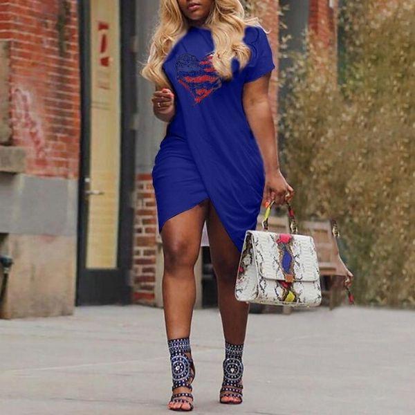 Moda Çapraz Tasarım Yaz O Boyun Bayanlar Kadınlar için Baskılı T gömlek Kısa Kollu Casual T Shirt