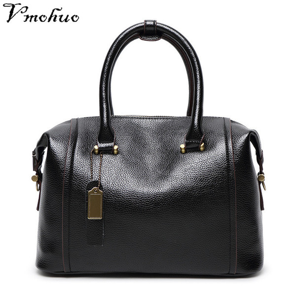 2019 Fashion VMOHUO Women's Handbag Genuine Leather Solid Color Shoulder Bags Women Famous Brand High Quality Top-handle Briefcase Female