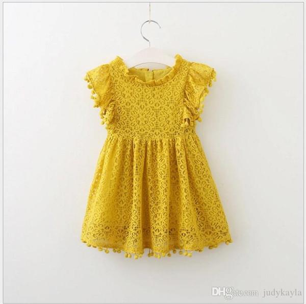 2018 New Fashion Girls Lace Hollow Out Princess Dress Solid Color Children Lace Dresses Baby Girl Party Dress Kids Clothes 5pcs/lot