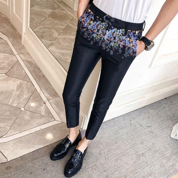Casual Moda Masculina Erkek Pantolon 2019 Spring New Floral Print Pant Dress Slim Fit Business Nightclub Male Singer Trousers