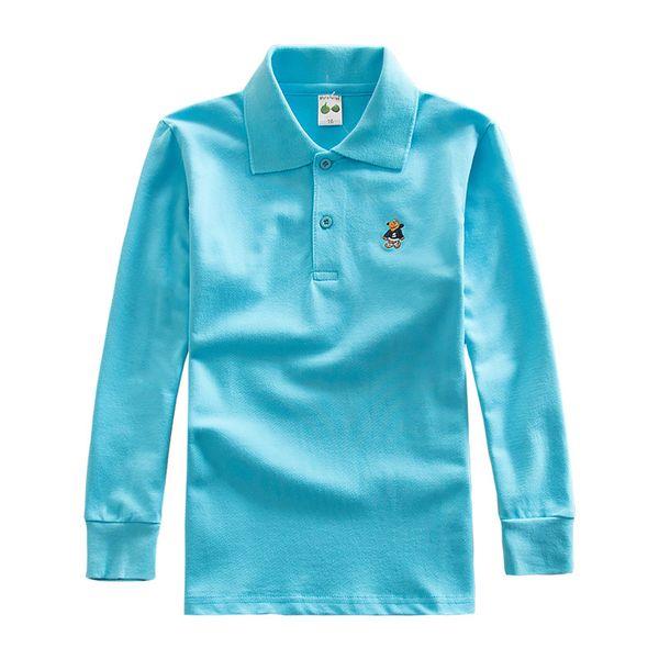 Jungen Mädchen Shirt Kinder Kinder Frühling Herbst Solide Turn-down Baumwolle Langarm Shirt Tops 3 4 6 8 10 12
