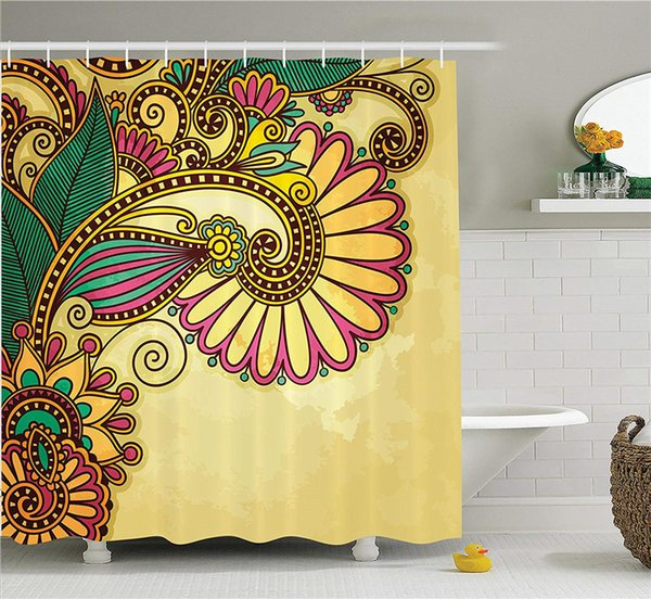 Grunge Home Decor Shower Curtain Set, Paisley Flower and Leaf Design with Ethnic Zen Floral Mandala Oriental Pattern Effects