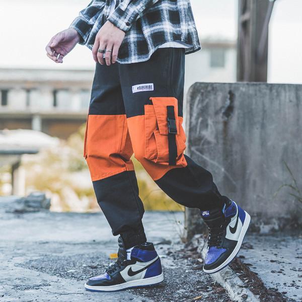 Pantaloni da uomo di Streetwear Pantaloni Patch da uomo di stile giapponese di moda patchwork Pantaloni da uomo di Harajuku High Street