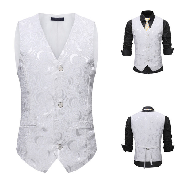 Suit Vest Men waistcoat slim fit Jacket Sleeveless Formal Bussiness Tuxedo Suit Waistcoat Vest Jacket Top Coat chaleco hombre