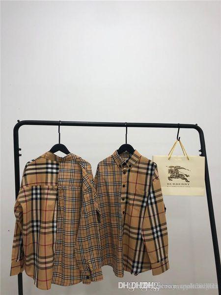 2018 Новейший роскошный дизайн BBR Половина плед досуг рубашку дышащий Мужчины Женщины блузка Повседневный Открытый Streetwear футболки