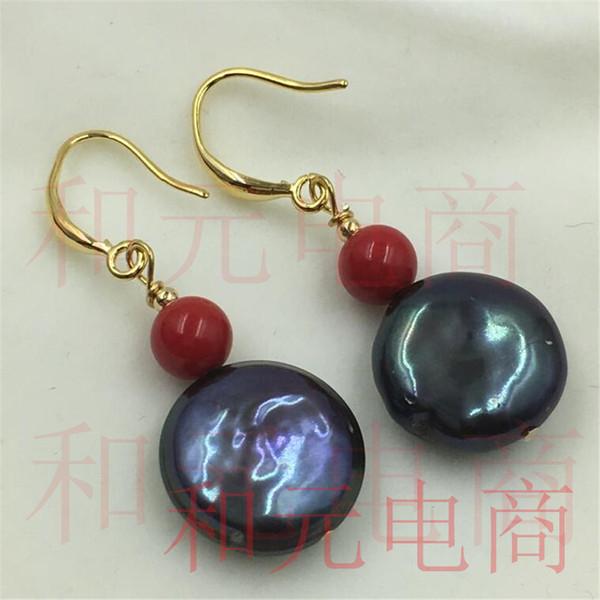 15-16MM Pendientes de perlas barrocas azul pavo real Gancho dorado dorado natural magnífico lujo DIY ENORME flor Fiesta natural TwoPin