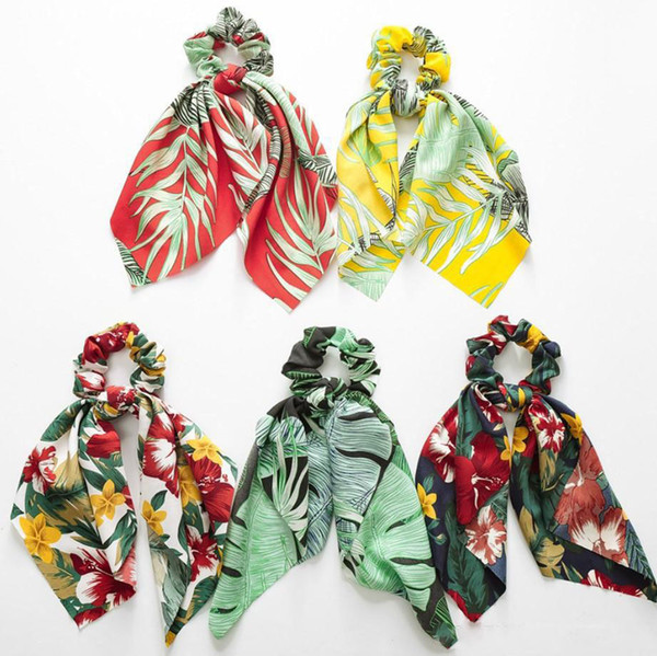 Summer Scarf Bow Hair Scrunchies Bow Women Accessories Hair Bands Ties Scrunchie Ponytail Holder Rubber Rope Decoration Big Long Bow