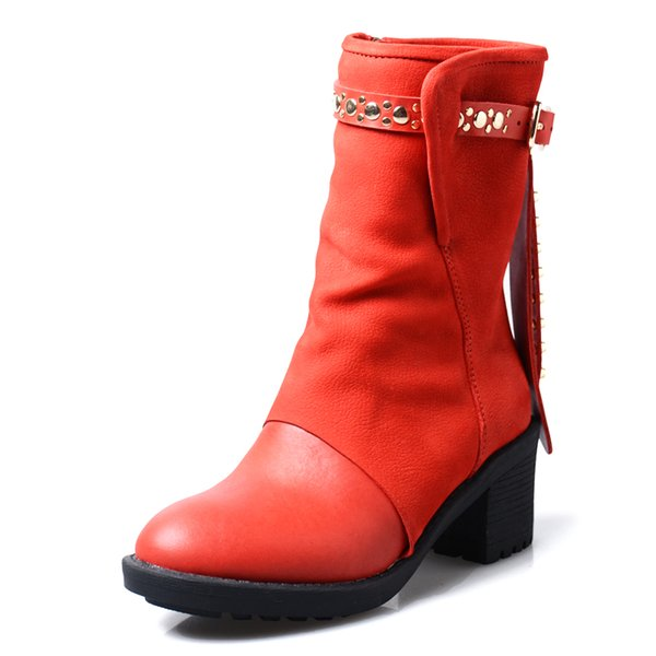 british style rivet stud belt buckle martin boots women round toe thick bottom short boots winter shoes black red cow leather knight boots