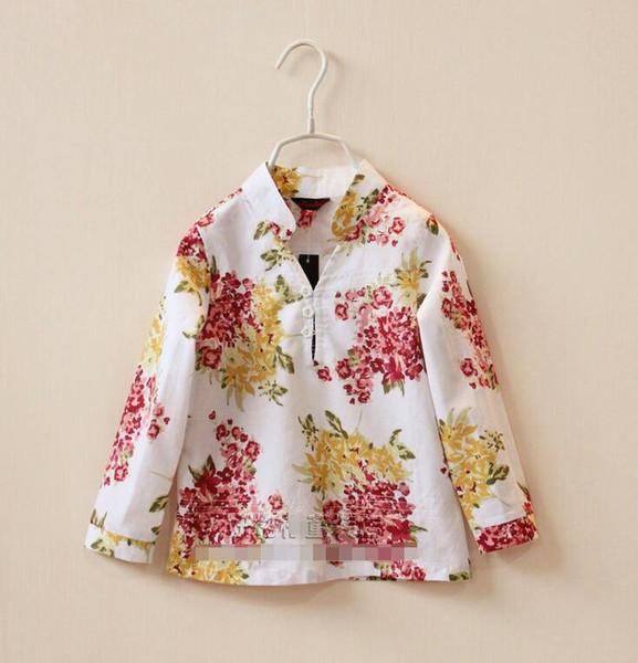 Camisa de bebé para niñas de 3-8 años Camisa de flores de manga larga Blusas para niños de alta calidad Blusas para niños
