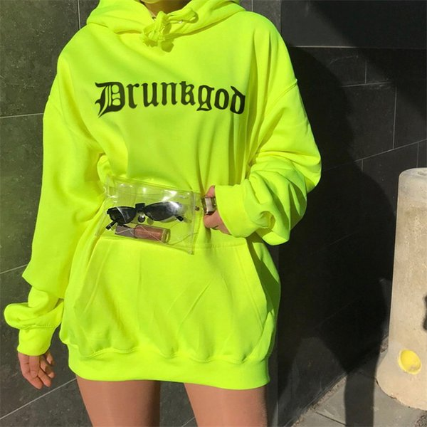 womens hoodies 2019 spring new fashion letter sweatshirts street style fluorescent green pullover casual drawstring loose top sports clothes
