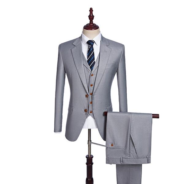 Custom Made Groomsmen Notch Lapel Groom Tuxedos Light Grey Men Suits Wedding Best Man Blazer (Jacket+Pants+Vest) C18122501