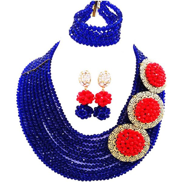 Nigerian Royal Blue Opaque Red Ethnic Women Crystal Necklace Sets for Party 10C-C3PH-19