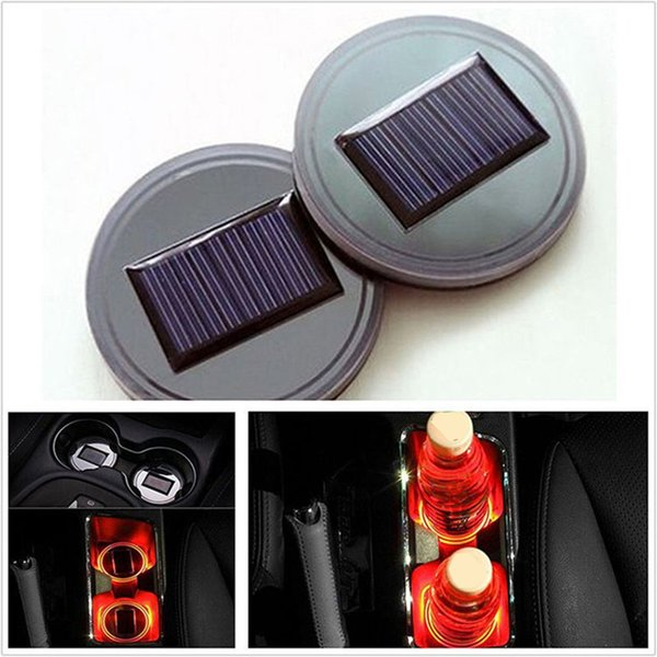 Solar LED Car Cup Holder Mat Waterproof Bottle Drinks Coaster Built-in Vibration Automatically Turn On at Dark Sensor for Car