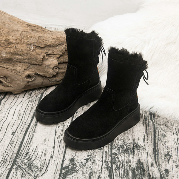 2019 Cowhide Suede Leather Snow Boots For Women Winter 2019 Fashion Round Toe Lace-up Boots Ladies Shoes