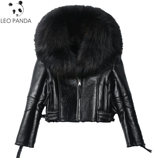 Kış Kadın Gerçek Koyun Kürk Sıcak Moda Hakiki Merinos Koyun Deri Ceket Doğal Gerçek Büyük Rakun Kürk Yaka Ceket