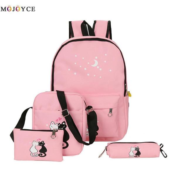 Famous Brand 4 Pcs/set Women Backpack Teenage Girls Cute Cat School Backpack Ladies Casual Canvas Backpacks Mochila Feminina