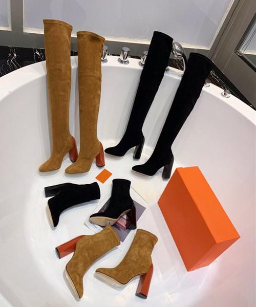 2019 nouvelles bottes en cuir de luxe de bottes d'hiver Bottes véritable cuir véritable 100% de femmes bottes à hauts talons avec des femmes de boîte à chaussures chaussures