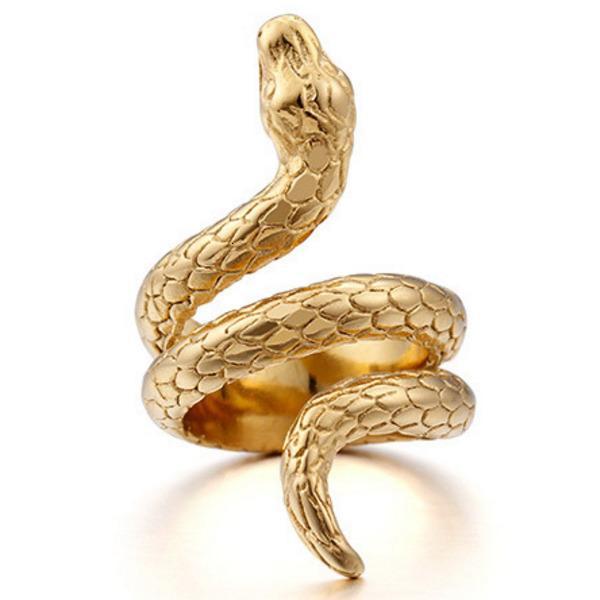 Cobra Modèle plaqué or 18k Bague Punk pour les hommes 12g plaqué argent de luxe de hip-hop Taille de bijoux 7 à 12 glacÉ Anneaux de serpent avec boîte