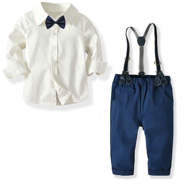 baby boy clothes baby clothing suit gentleman Style bow tie + white shirt + Bib pants baby boy clothing set
