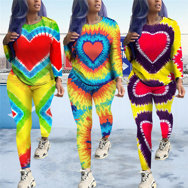 Aşk Kalp El Baskılı Kadın Eşofman Kazak Kazak + Tayt Tayt Pantolon 2 Parça Set Sonbahar Eşofman Gökkuşağı Renk Kıyafet C82904
