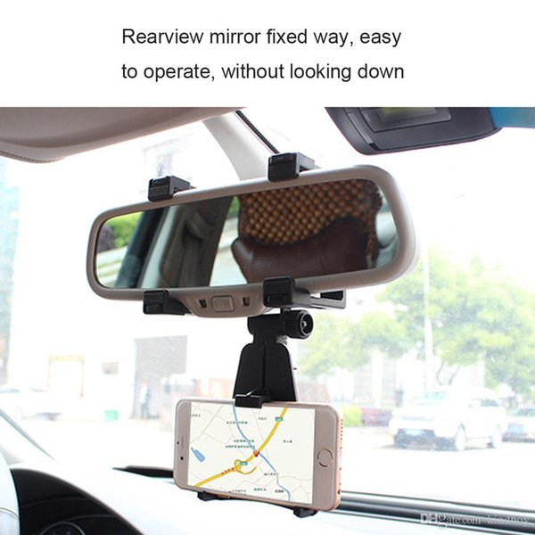 Pour Iphone 7 Support voiture Support voiture universel Rearview Mirror Holder Cell Phone Support GPS Support Cradle Auto Truck Mirror avec le paquet détail