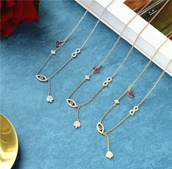 fashion designer 925 sterling silver evil eyes necklace,gold color small pink heart lucky 8 pendant choker monaco jewelry