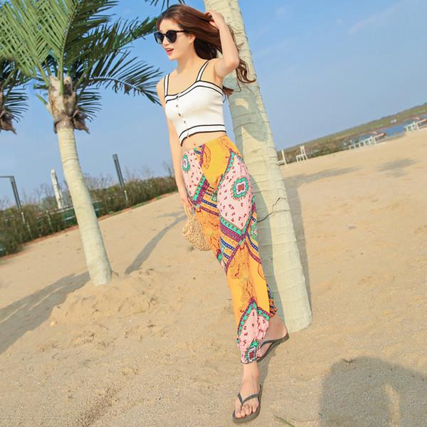 Frauen-Sommer-dünner Baumwolldruck-Blüten-Hosen-Boho-Strand-Tanz-Feiertag lösen plus Größen-Hosen