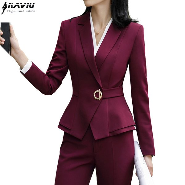 High Quality Winter Suit For Women Two Pieces Set Formal Long Sleeve Slim Blazer And Trousers Office Ladies Plus Size Work Wear MX190810