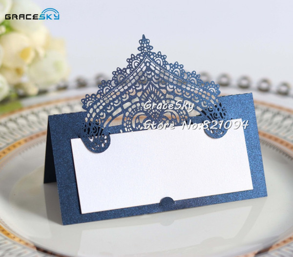 50pcs/lot Free Shipping Laser Cutting Lace Pearl Paper Place Name Seat Cards Wedding Invitation Table Card Wedding Party
