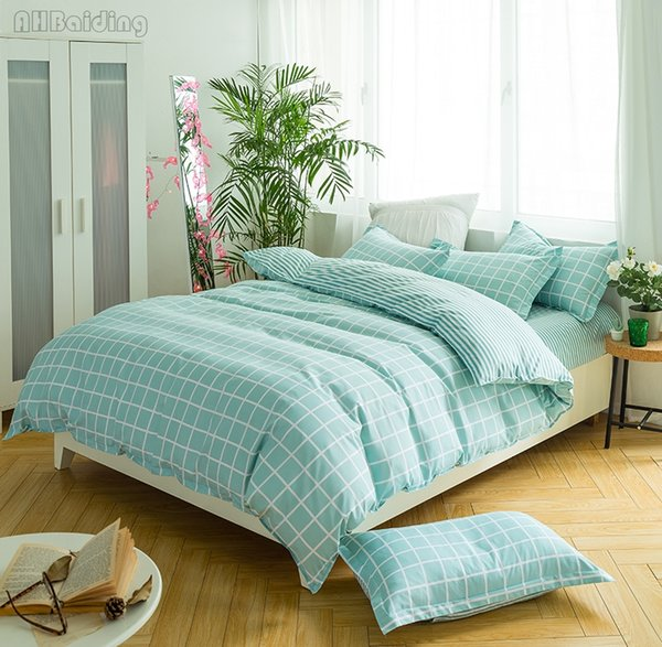 Home Textile Green Plaid Bedding Set Bedclothes Flat Sheet Pillowcases 4pcs Cotton Duvet Cover Set Twin Full Queen King Size