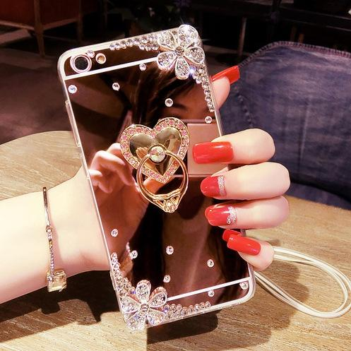 New fashion luxury diamond ring Holder mirror cases For iphone xs max xr x 6 7 8 6s plus phone case Flowers With chain Soft Silicone cover