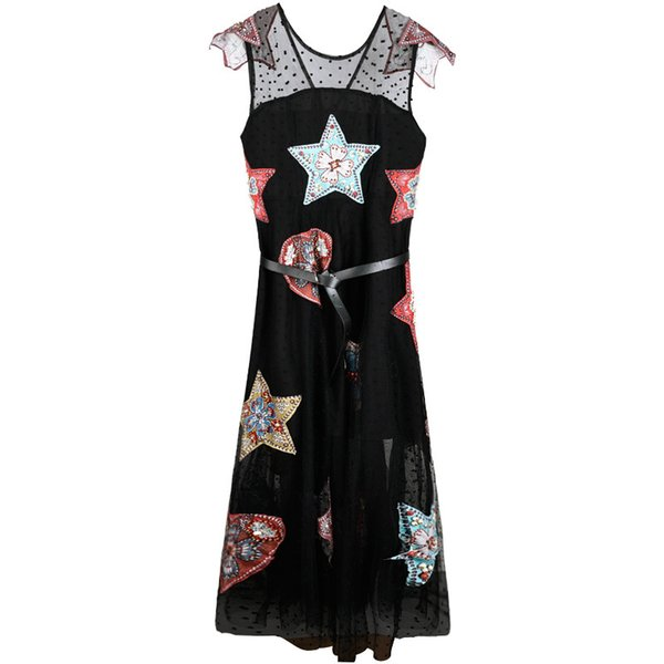 2019 Spring and Summer New Star with The Same Paragraph Heavy Work Beaded Embroidered Ladies Strap Dress Fairy Dress Long Skirt SIZE S-XL