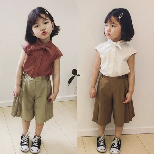 2pcs WLG girls summer clothing set kids girl white red turn down collar short sleeve t shirt and short set baby casual clothes