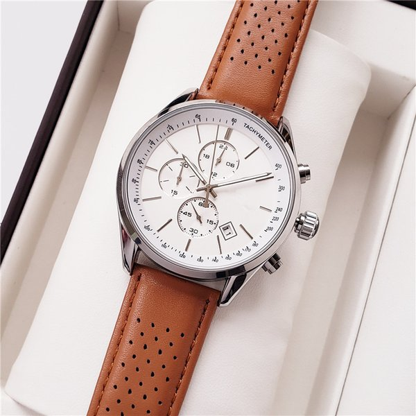 2019 leather band Luxury Man Watch Famous Brand calendar Quartz sports Watch special style male clock leisure classic Wristatch High quality