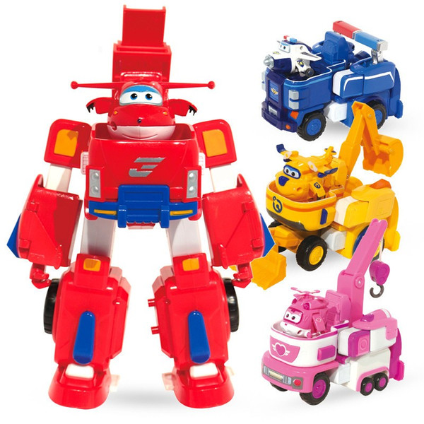 Mini Size--4 models Super Wings Slide pull back Airplane PVC Transformation Robot Action Figures Toys Set For Christmas Gifts
