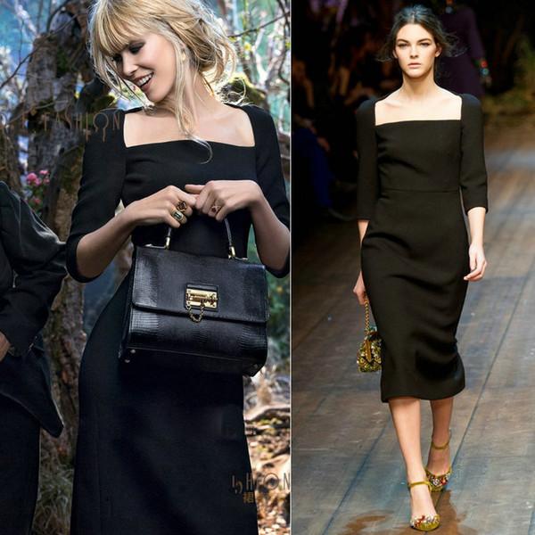 2017 dress bodycon elbiseler yaz kare boyun kadınlar elbiseler ünlü stil moda elbiseler 3/4 kollu diz boyu panelli özelleştirilebilir