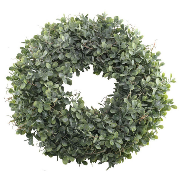 Artificial Green Leaves Wreath - 17.5 Inch Front Door Wreath Shell Grass Boxwood For Wall Window Party Decor