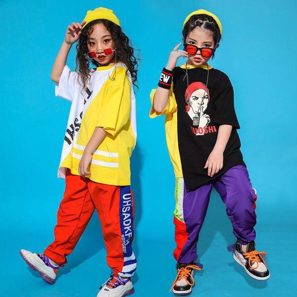 Kinder Hip Hop Gesellschaftstanz Outfits für Mädchen Jungen Jazz Dance tragen Kostüme lose T-Shirt Tops Jogger Pants Karneval tragen