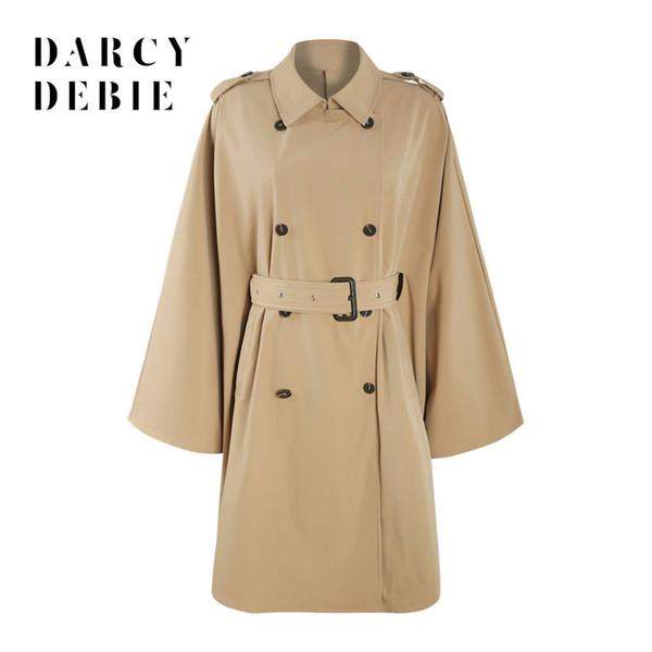 Darcydebie Autumn Women Office Lady Plus Size Cinturón de doble botonadura Capa asimétrica trinchera Manga larga Abrigo largo