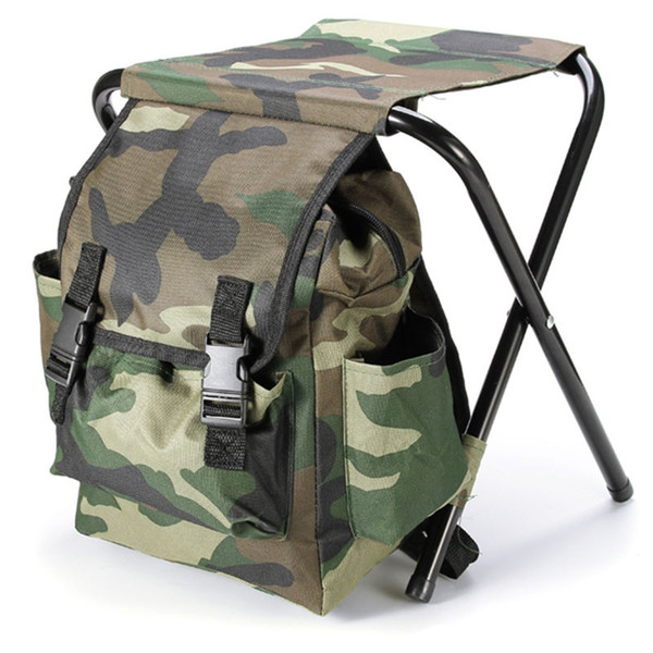 Portable Camouflage Outdoor Bags Chair Oxford Cloth Steel Tube Light Weight Outdoor Camping Hiking Fishing Chairs Backpack Bags #767755