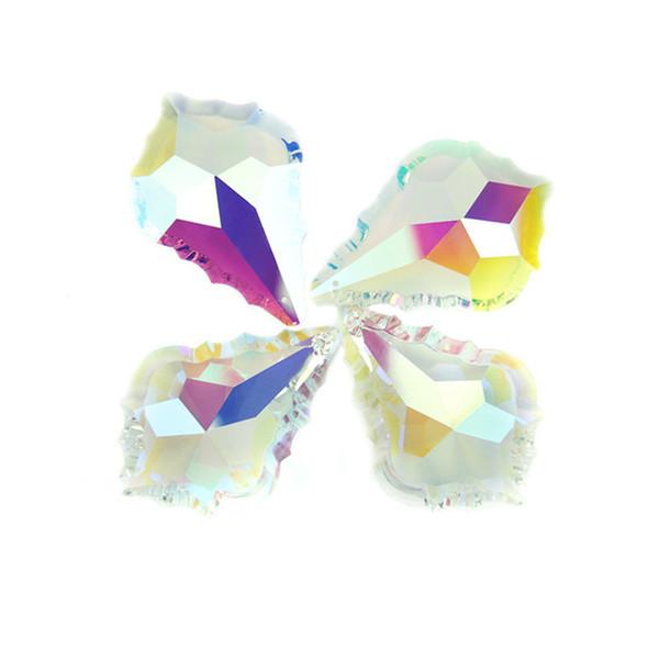 40 pcs De Cristal AB 76mm De Vidro Folha De Bordo Lustre Pingente Para Fine Chandelier Guarnição Guarnições Em Casa Vender Como Bolos Quentes