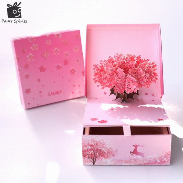 Papel Spiritz Boda Caramelo Regalos Cajas Embalaje grande Boutique Pastel de cumpleaños Pop-up Sakura Personalizado Decoración Baby Shower Lujo
