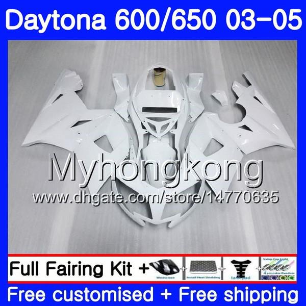 Karoseri Için Triumph Daytona600 glosssy beyaz Daytona 650 600 02 03 04 05 321HM.10 Daytona650 Daytona 600 2002 2003 2004 2005 Fairing kiti