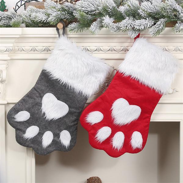 2 Arten Weihnachtsdekorationen rote graue Haustier-Weihnachtssocken Geschenk-Beutel der Kinder Apple-Beutelgeschenkbeutel Baum-hängende Verzierungen DHL JY431-U
