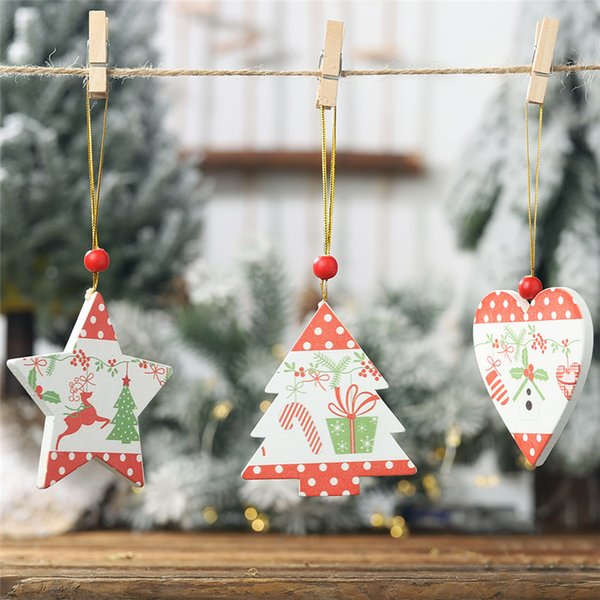 2019 New Christmas Tree Decoration Fashion Wooden Christmas Decor Xmas  Pendant Drop Ornaments Hanging Decoration Wooden Christmas Ornaments Xmas  Decor