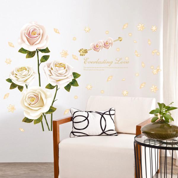 Acheter % Romantique Blanc Rouge Rose Fleur Amour Stickers Muraux Plantes  Pétale Décoration De La Maison Chambre Salon Armoire Diy Stickers Muraux De  ...