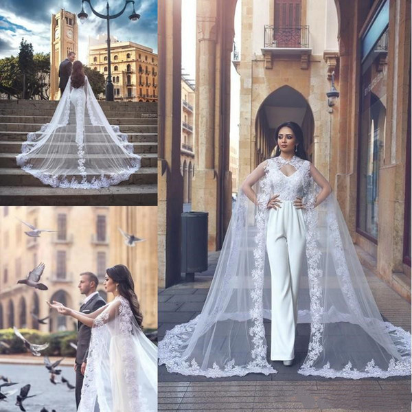 Classic Detachable Wrap Wedding Dresses With Pants Lace Applique Skirt Turkey Bridal Gowns V Neck Sexy Backless Bride Dress Custom Made 2019